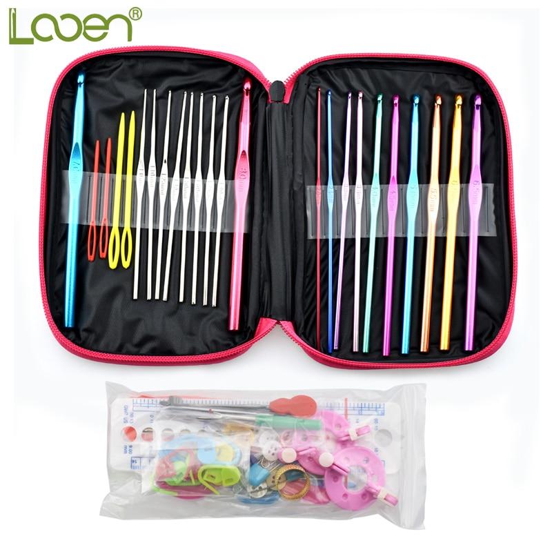 Looen 73 Unids Multicolor Metal Crochet Hook Set Aguja de tejer Crochet Set Completo Aguja de Ganchillo Suéter Herramientas Artesanía de bricolaje