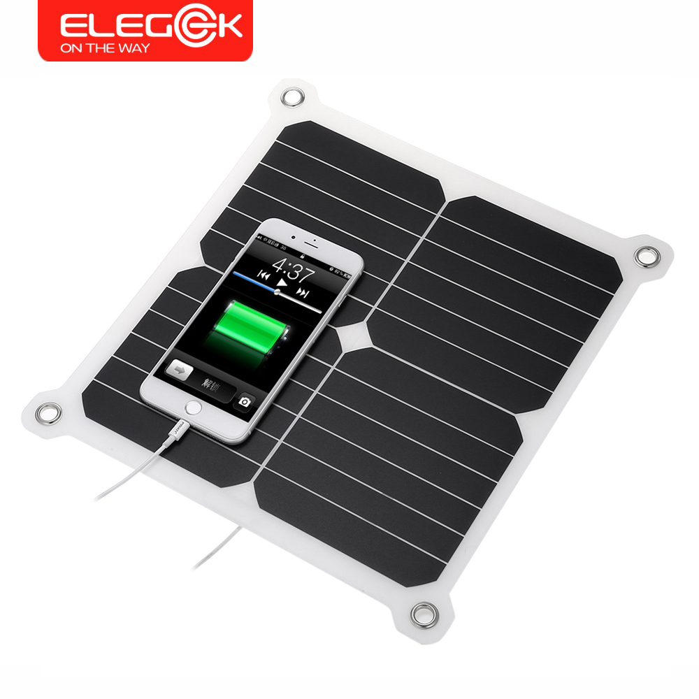 ELEGEEK 5V 13W Portable Foldable Solar Panel Charger Solar Phone/Tablet/Battery Charger Dual USB Output for iPhone Sumsung iPad 100w 12v monocrystalline solar panel for 12v battery rv boat car home solar power