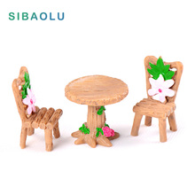 3pcs/set table chairs Miniature Figurine DIY House Accessories Doll building home Decoration Simulation plastic Play house toys