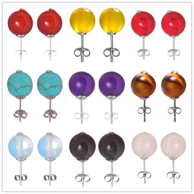 02f2eee12 Coloful Droplets Stud Earrings For Women Genuine 925 Sterling Silver  Jewelry pandora Birthstone Earring bijouterie Birthday Gift