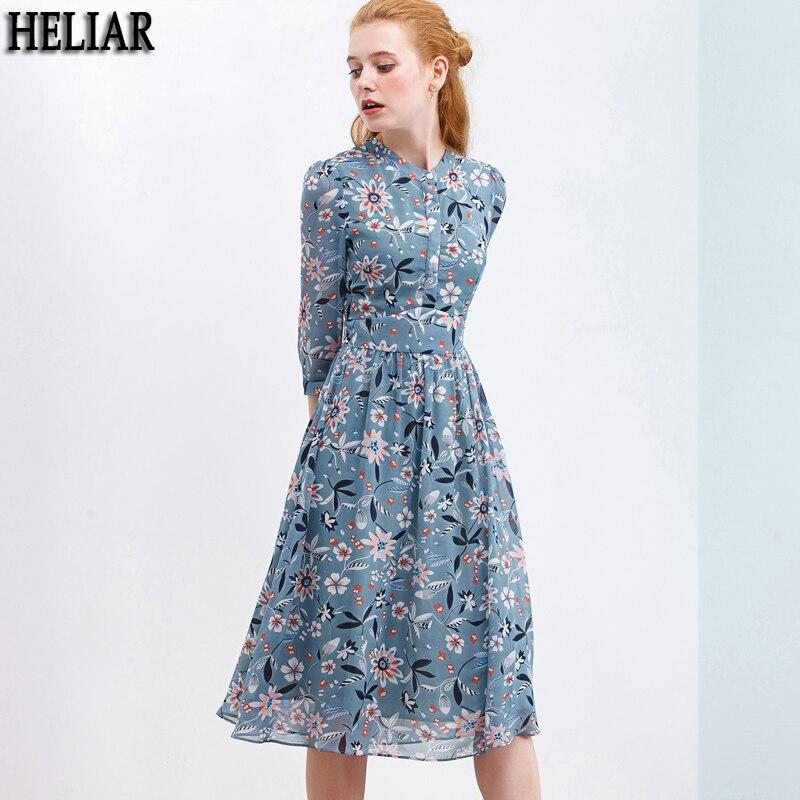 HELIAR 2020 Spring Floral Print Chiffon Dress For Women Blue Buttoned Up Casual Knee Dress Floral Vestidos Transparent Dress