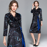 2018 Free Shipping New Autumn Winter Women Work Wear Fashion Long Dresses Slim Female Ladies
