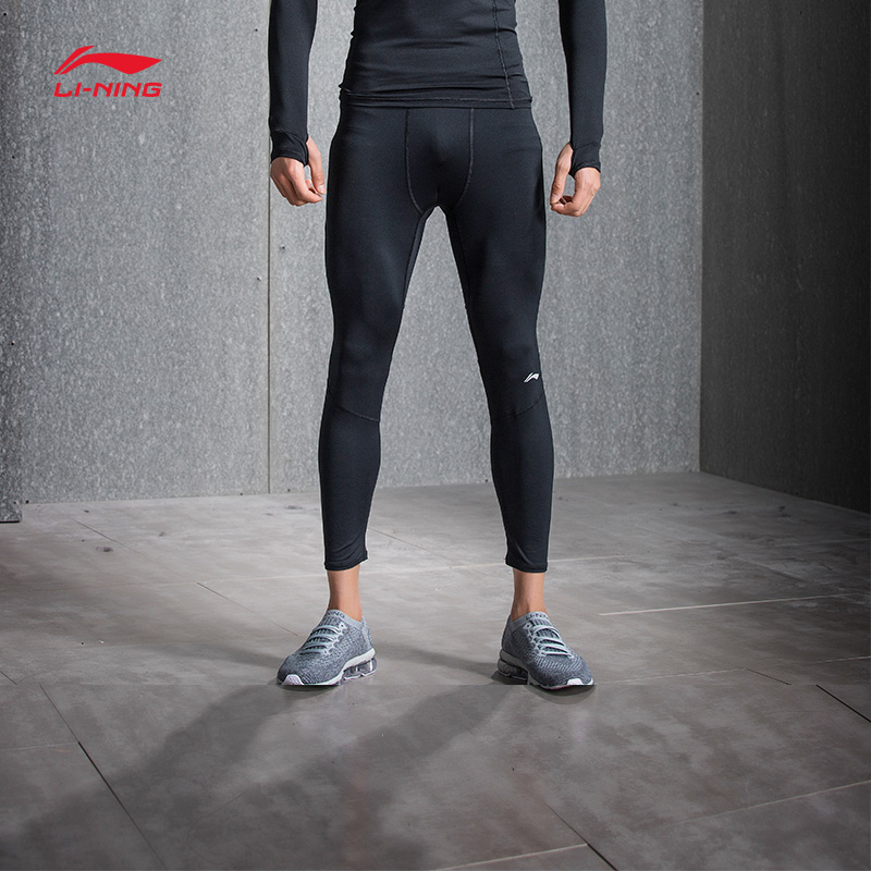 Li-Ning Men Base Layer Pants Tight Fit Stretchy Jersey Fitness Gym 88%Polyester 12%Spandex LiNing Sports Pants AULN015(China)