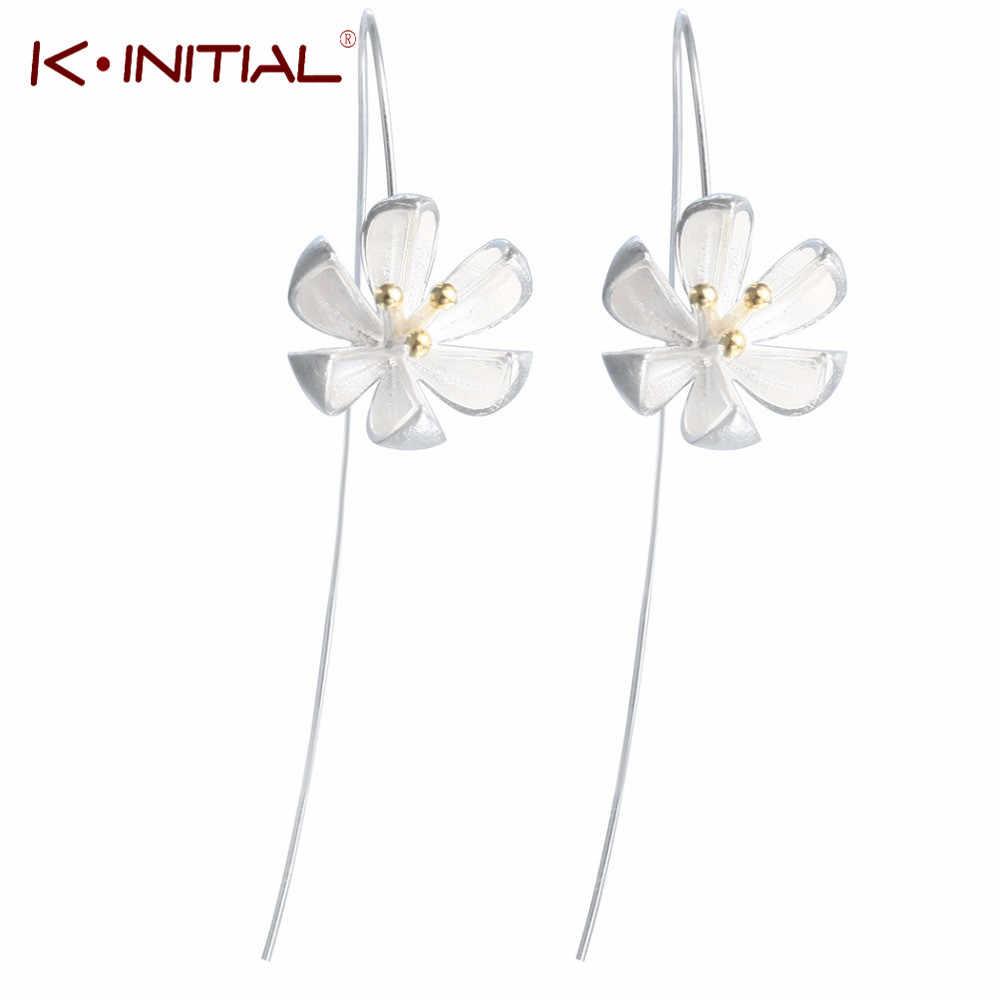 Kinitial אופנה ארוך לילך פרח Drop עגילי כותרת תלתן עגיל לנשים בנות חמוד תכשיטי הצהרת חתונה oorbellen