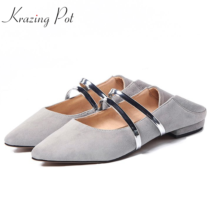 Fashion flats pointed toe sheep suede superstar sweet shallow dance ballet women shoes casual fairy princess style cozy shoes L1 krazing pot sheep suede rabbit fur superstar preppy style bowtie casual shoes pointed toe flats sweet women outside slippers l71
