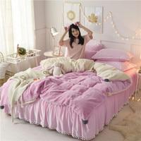 Pink White Fleece Fabric Winter Thick Pure Color Crystal velvet Bedding Set Mink Velvet Duvet Cover Bed Sheet Linen Pillowcase