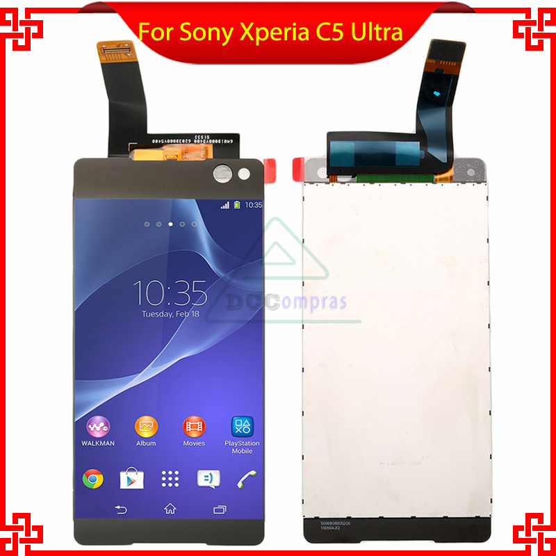 white black LCD display For Sony Xperia C5 Ultra E5506 E5533 E5563 With Touch Screen Digitizer Assembly replacement parts original tested lcd screen for sony xperia c5 ultra lcd display with touch screen digitizer assembly free ship track