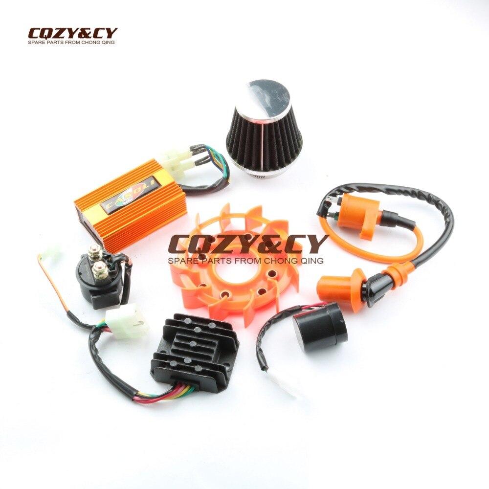 Filtres à Air 42mm et bobine de Performance DC CDI & Flash & relais & Kits de ventilateurs pour GY6 ATV Kart Scooter 152QMI 157QMJ 125cc 150cc