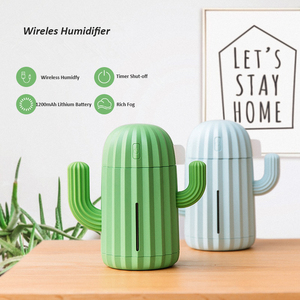 Image 4 - 340ML Cactus Air Humidifier Battery Operated Rechargeable USB Aroma Essential Oil Diffuser With Warm Light Cactus Air Purifier