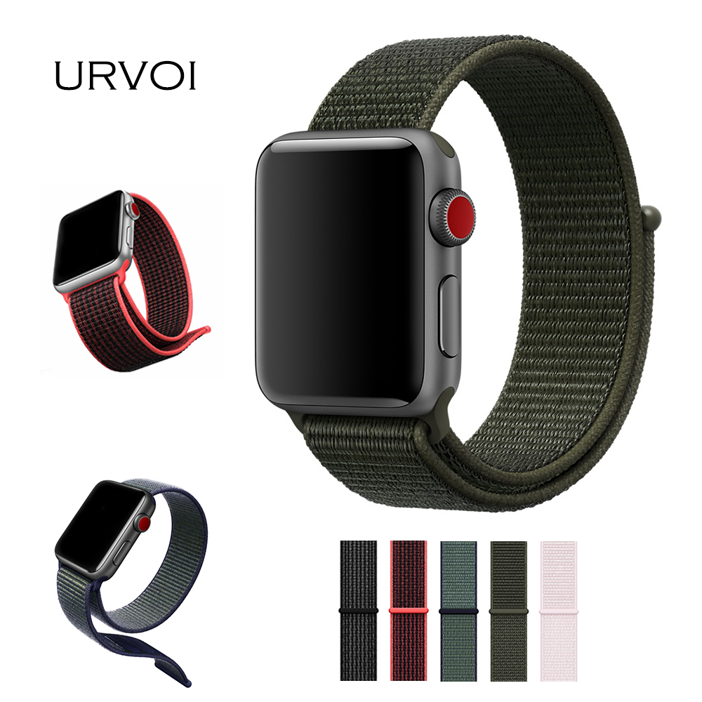 URVOI Spring 2018 Sport loop for NIKE+ apple watch band series 4 3 2 1 strap for iwatch woven nylon breathabe hook loop fastener все цены