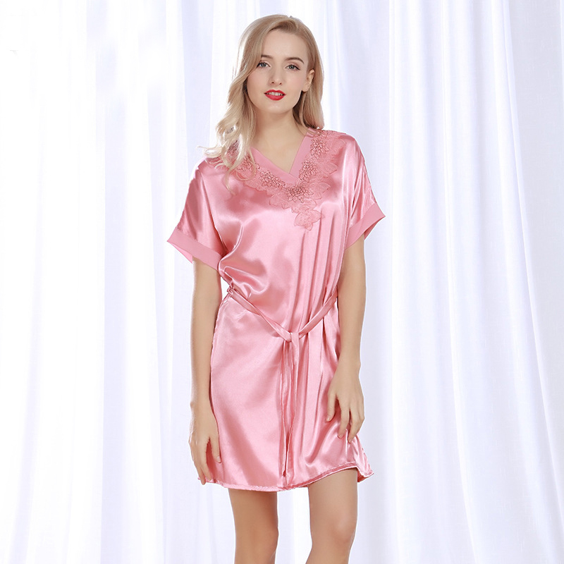 NG086 Sexy Satin Silk Sleepwear Night Dress Short Sleeve Nightdress Lingerie Female Nightie Summer Brand   Nightgown     Sleepshirts