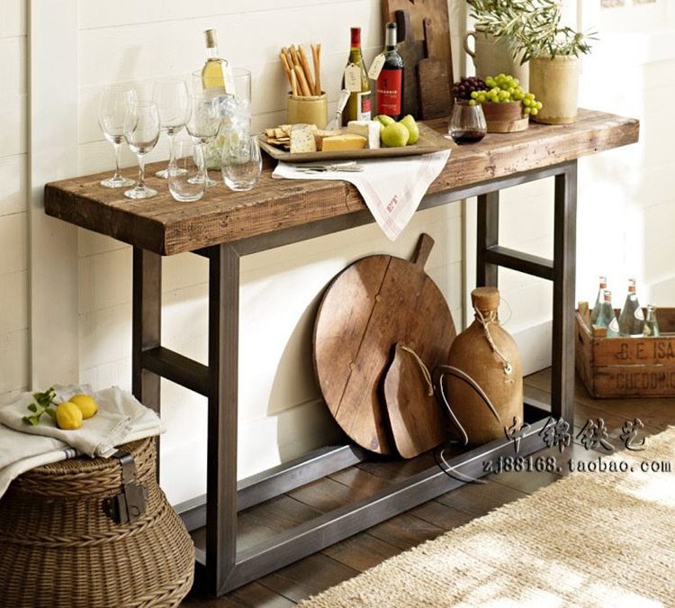 American Retro Wood Console Table Wrought Iron Entrance Hall Cabinet Dining Side TV Corridor Corner Tables In Conference Chairs From