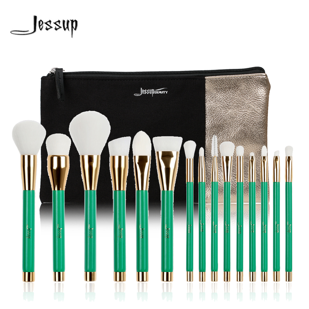 ФОТО Jessup Brand 15pcs Beauty Makeup Brushes Set Brush Tool Green and White T116& Cosmetics Bags Women Bag CB002