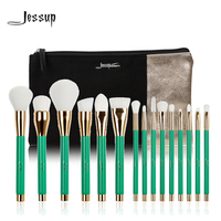 Jessup Brand 15pcs Beauty Makeup Brushes Set Brush Tool Green And White T116 Cosmetics Bags Women