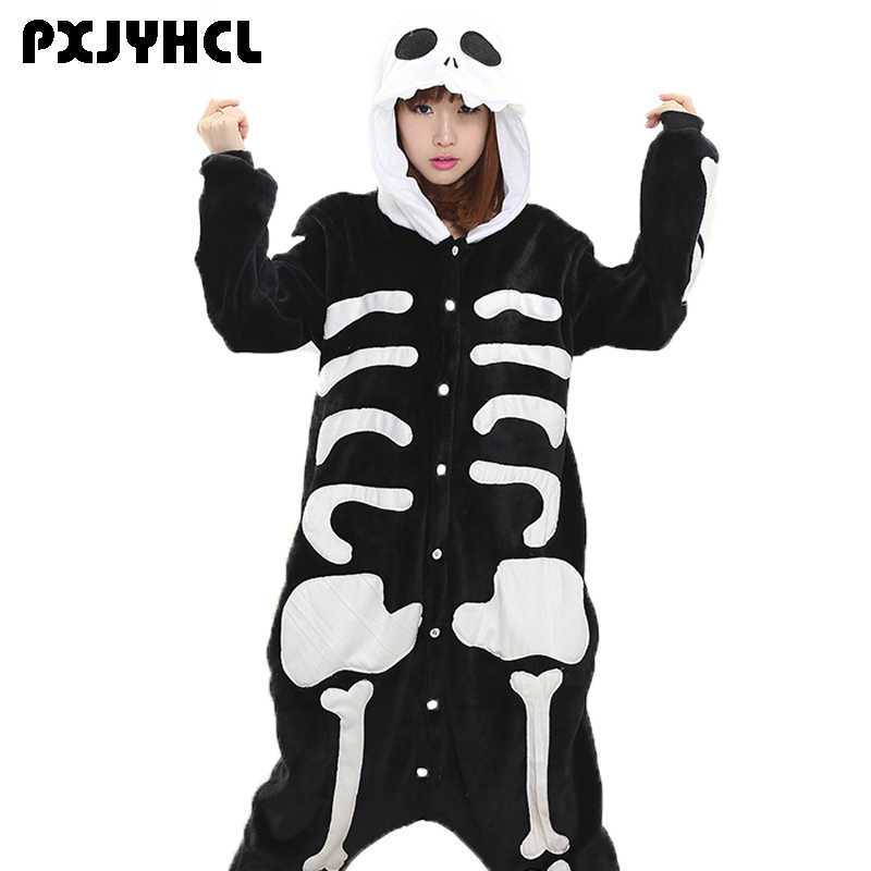 Человек Скелет Kigurumi Комбинезоны для женщин фланель животных Coaplay  Pijamas взрослых Теплые Мягкие Аниме Пижамы Onepiece 8dd23c61a242e