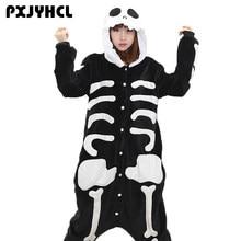 Man Skeleton Kigurumi Onesies For Women Flannel Animal Coaplay Pijamas  Adult Warm Soft Anime Sleepwear Onepiece ce67ec661