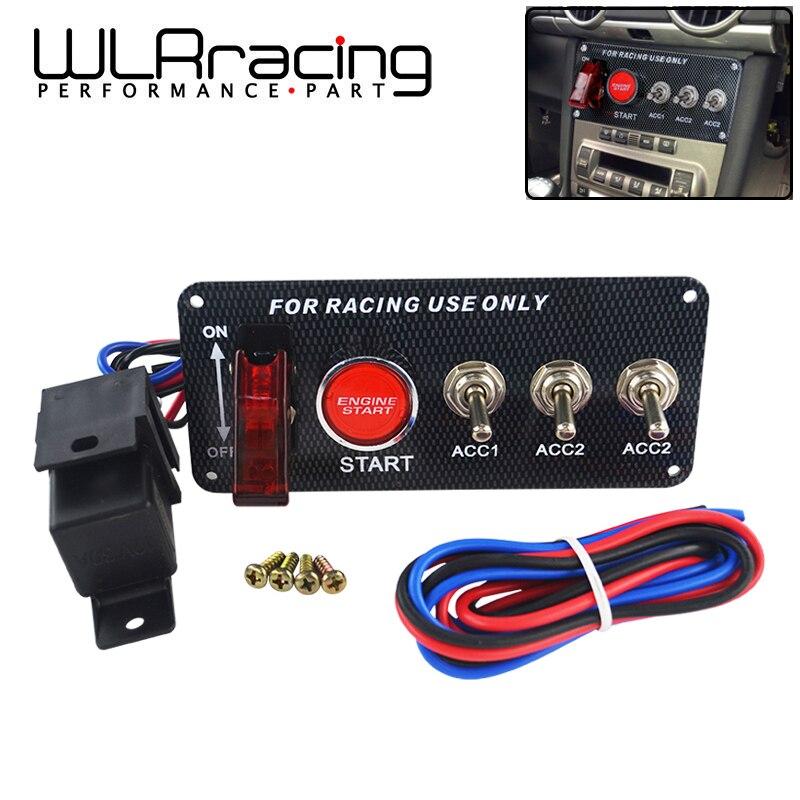 WLR RACING-Voiture De Course 12 v LED Commutateur D'allumage Panneau de Démarrage Du Moteur à Bouton-Poussoir LED Bascule En Fiber De Carbone QT313