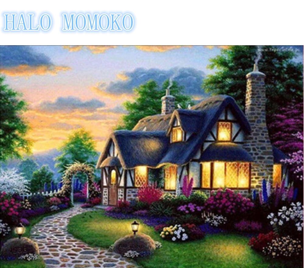Diamantové výšivky, diy, dům, 5D, drahokam, domácí dům, strom, - Umění, řemesla a šití