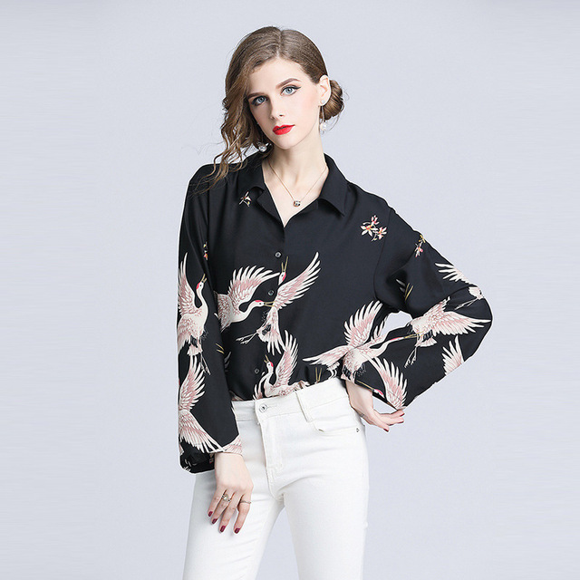 3269393be6f16c7 Turn Down Collar Shirts Women Floral Blouse Crane Print Button Up Blouse  Multicolor Spring Casual OL