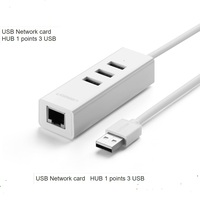 Green Usb Wired Network Card Splitter Hub For For Apple Laptop Usb Ethernet Cable Interface