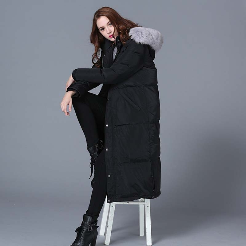 Real Fox Fur Collar White Duck Down Feather Jacket Woman Female Jackets Winter Plus Long Coat Female Thickening JACKET WOMAN