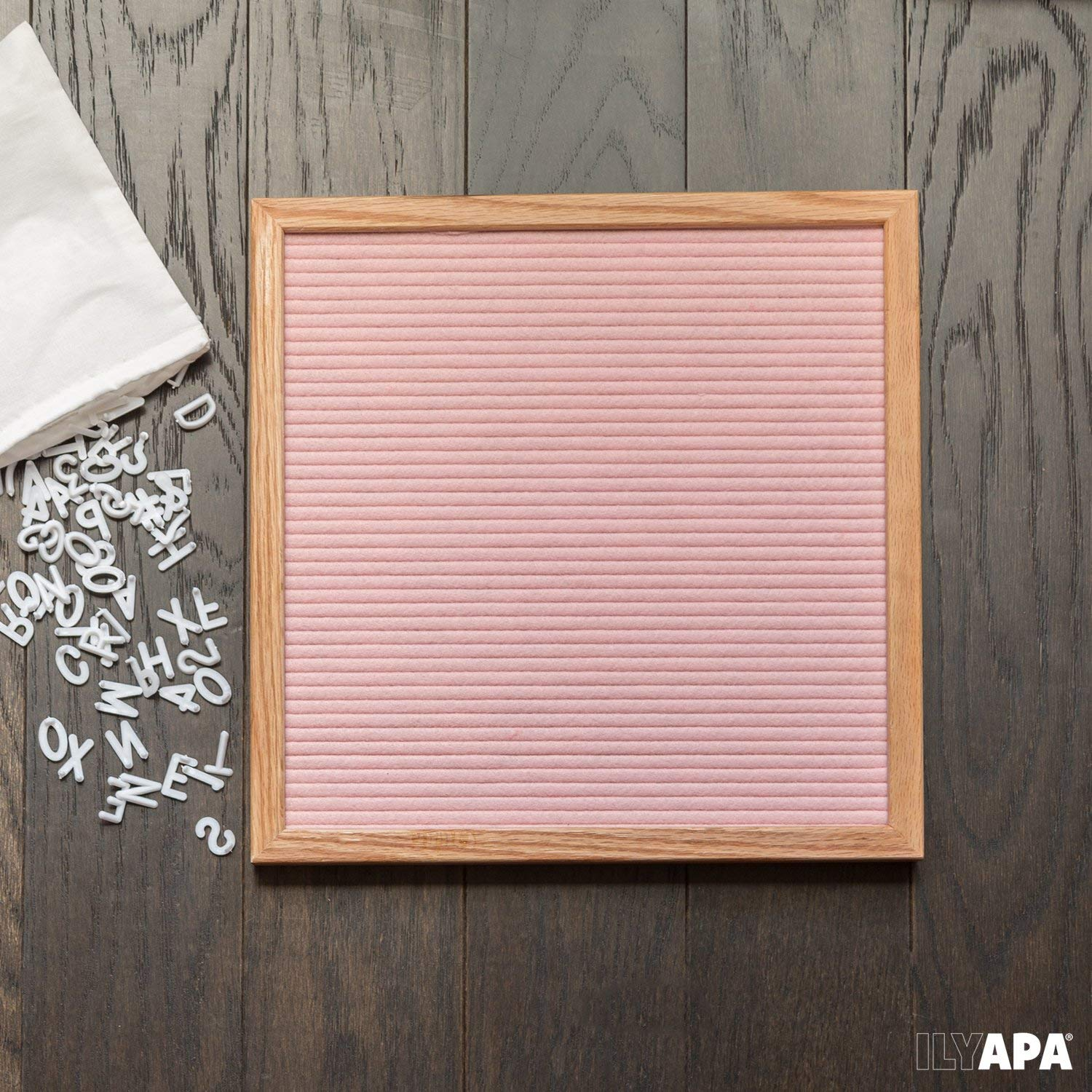 Pink Felt Letter Board With 510 Letters, Numbers & Symbols-25x25cm Changeable Wooden Message Board Sign