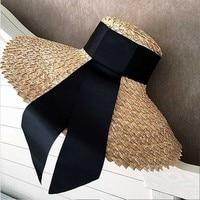 FGHGF Women Classical Wheat Straw Hat Summer Cap 18cm Large Wide Brim Sun Hat Elegant Floppy Ribbon Beach Hat Vocation Derby Hat