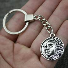 Women Jewelry Gift Key Chain New Vintage Metal Key Chains Antique Silver 29x25mm Sun And Moon Tag Charm Key Rings отпариватель kromax odyssey q 910 1960вт белый сиреневый
