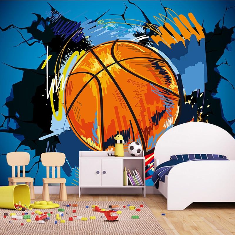 Custom 3d Photo Wallpaper Modern Simple Basketball Broken Wall