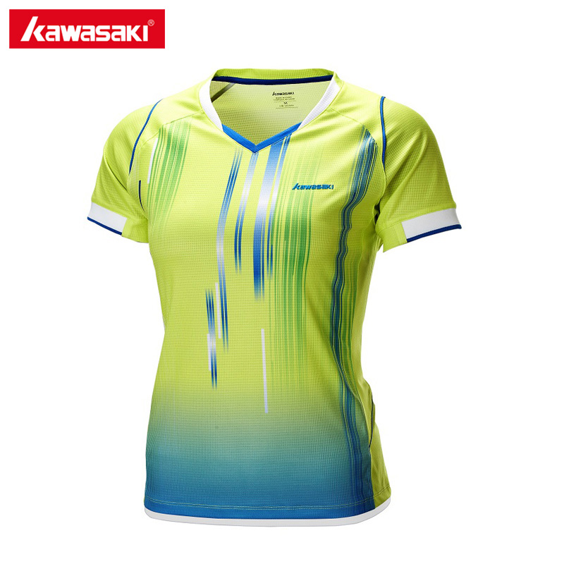 Kawasaki 2017 Badminton Clothes Sportswear Shirts For Female V-Neck Breathable Bright Color Badminton Sport T-shirt ST-172002