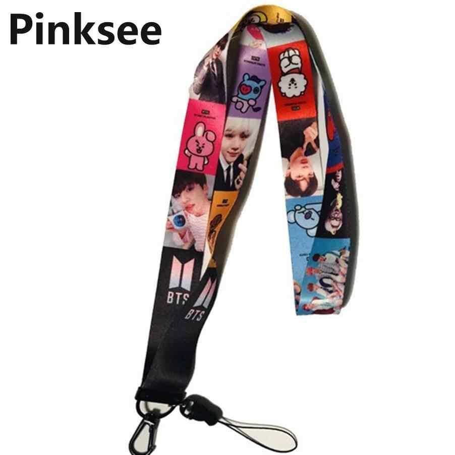 Kpop Черный Розовый Bangtan брелок для мальчиков шнурок Лиза Дженни фигурный брелок для телефона Ремешок Модные вентиляторы ювелирные аксессуары