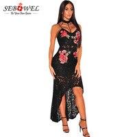 SEBOWEL Вышивка черный цветочный Кружево платье Для женщин праздничная одежда пикантные длинные летние макси платье без рукавов Повседневное ...