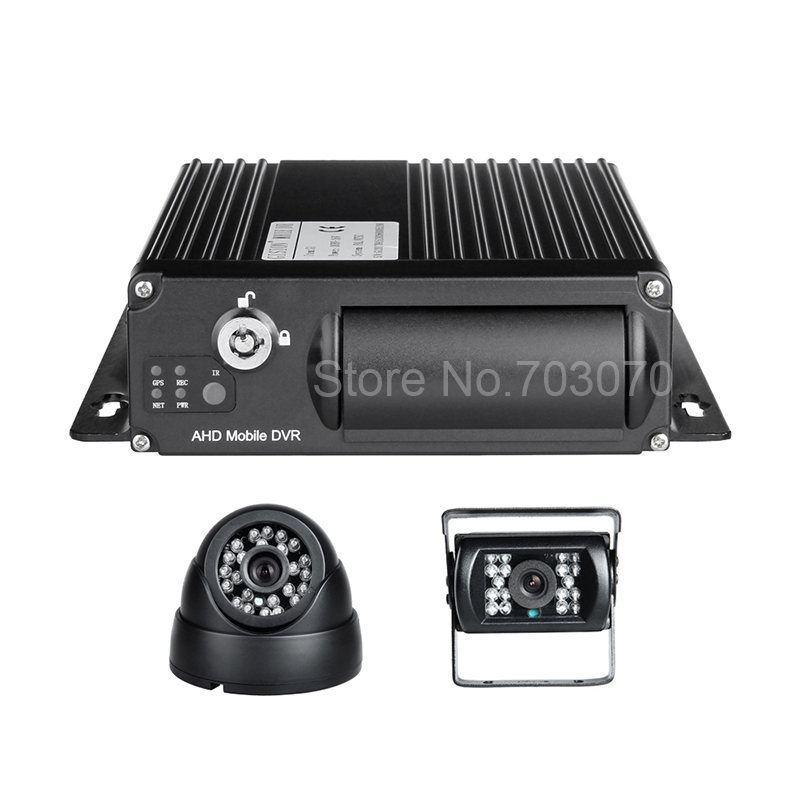 2PCS Car Camera AHD 1080 SD Card Mobile Dvr Kits 4CH Video/Auido Input G-sensor Cycle Recording Video Playback Car Bus Mdvr