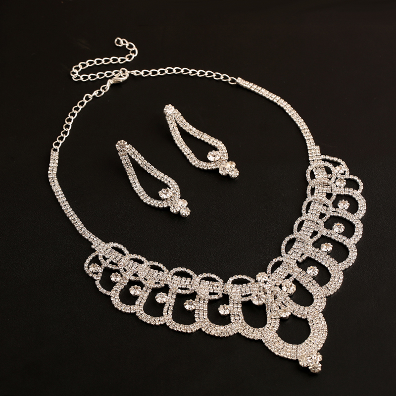 Luxury rhinestone maxi necklace sets zinc alloy wedding jewellery
