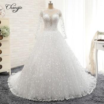 Vestidos de novia nuevos Vestidos de novia elegantes con mangas largas y...