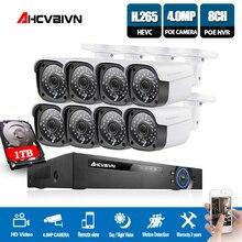 AHCVBIVN 8CH 5MP 1080P CCTV Camera System POE NVR Kit 4K HDMI 4.0MP Outdoor Security IP Camera P2P Video Surveillance System Set