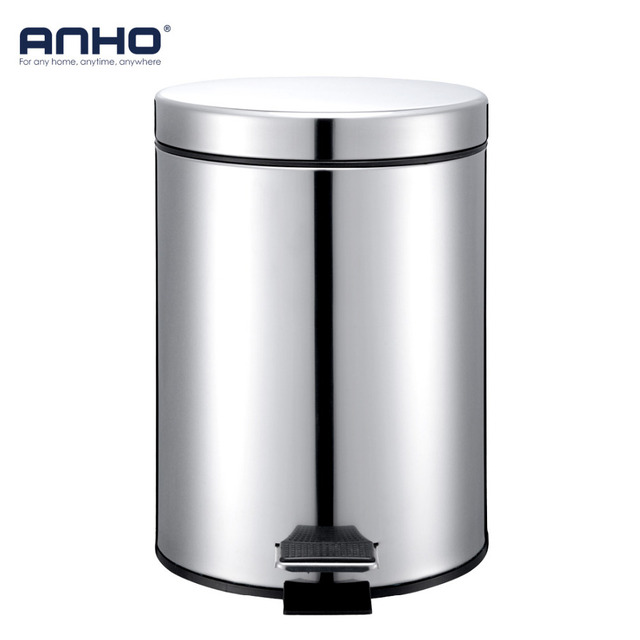 Anho 5l Round Bins Stainless Steel Rubbish Can Foot Pedal Type