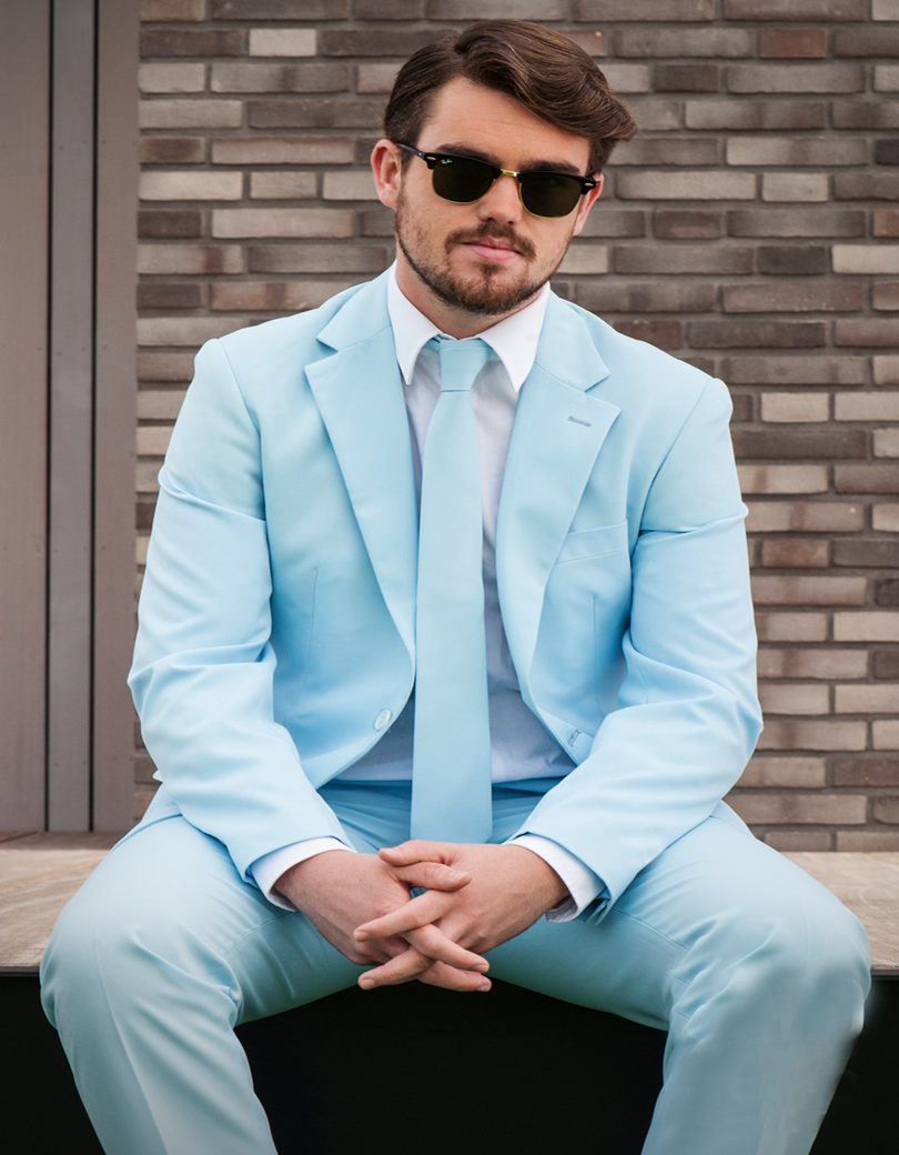 New Sky Blue Groom Tuxedos 2 Piece Mens Wedding Prom Party Suits ...