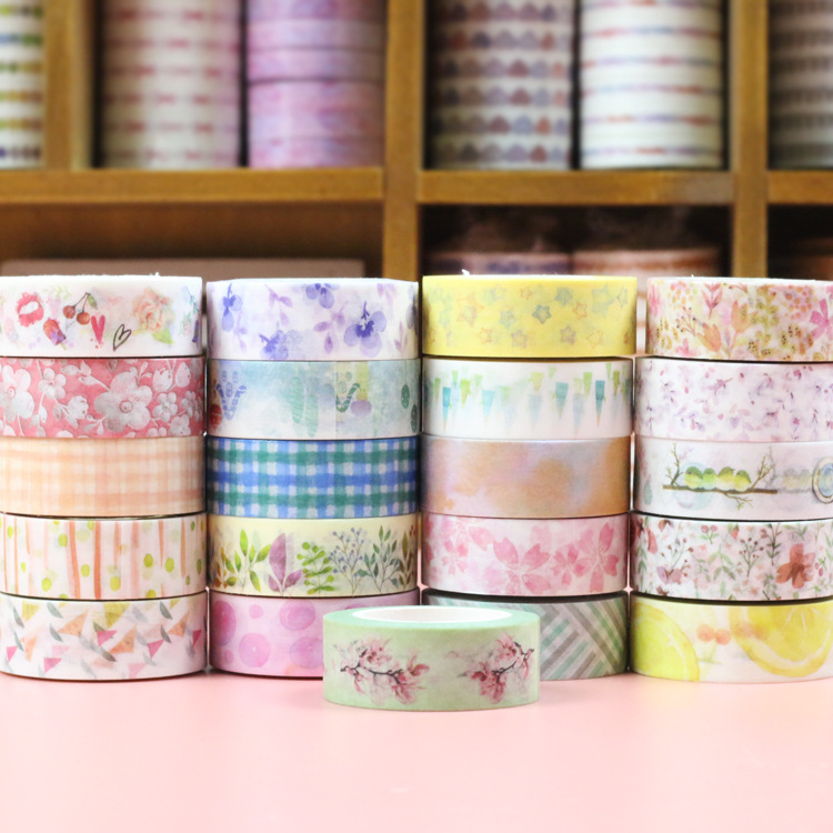 1PC DIY Candy Hot Flower Washi Tape Decoration Roll Decorative Sticky Paper Masking Tape Self Adhesive Tape Scrapbook Tape glitter gold silver foil printing washi tape christmas card washi decorative adhesive tape masking paper tape scrapbook gif