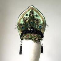 Handmade Cosplay Hair Accessories Crown Peacock Feather Headband Embroidery Tassels Headpiece Party Halloween Headdress