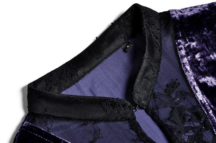 Vêtements Velours Femmes Maxi Automne Mandarin Hiver 2018 Sheer Robe Longues Manches Pourpre Chemise À Dentelle Patchwork Noir Col qHq8tEw
