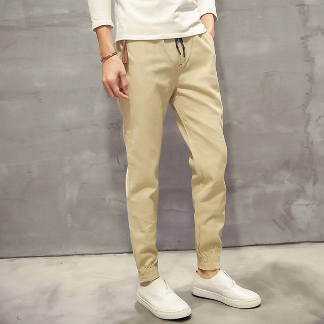Khaki Joggers New Cotton Casual Pantalones Hombre Quality  Mid Waist Pants Men Fashion Mens Joggers Long Trousers 5XL-M 5Colors