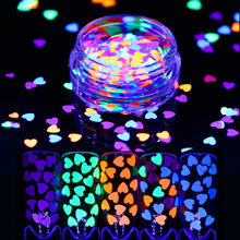 Nail Sequins Fluorescent Glitter 4mm Ultra-thin Colorful Heart Shape Flakies 1g Luminous Nail Paillette Glow in the Dark 6 box set fluorescent luminous nail art sequins star moon heart flower six style ultrathin glitter nail flakes glow in the dark