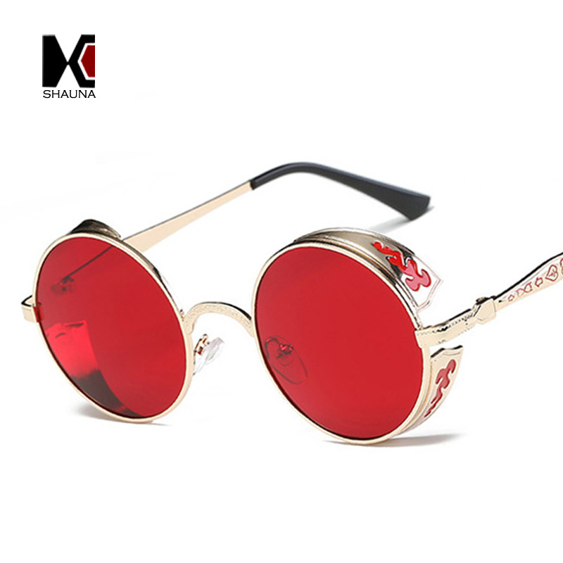 SHAUNA Vintage Men Steampunk Sunglasses Fashion Red Round Sunglasses Women Metal Carving Goggle Sun Glasses UV400