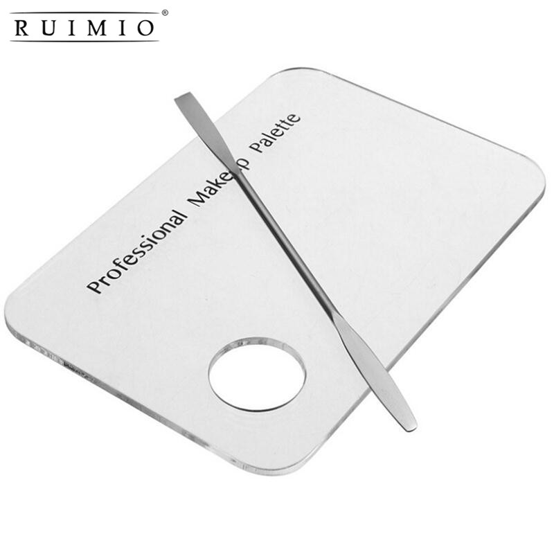 RUIMIO Women Acrylic Transparent Nail Art Palette Pallet Tool Blending Pigment Spatula Nail Polish Makeup Cosmetic Foundation