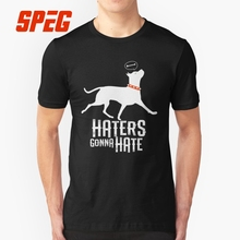 Animal T Shirts Haters Gonna Hate Pitbull Amstaff Dog Pit Bull Men's Slim Fit Short Sleeve T-Shirt Great Youth Best Tee Cotton