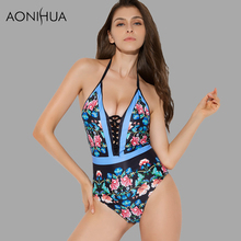 AONIHUA Floral One Piece Swimsuit Women High Cut Lace Push Up Print Sexy Swimwear Female Open Back Beach Bathing Swimming suit mesh insert open back leaf print swimsuit