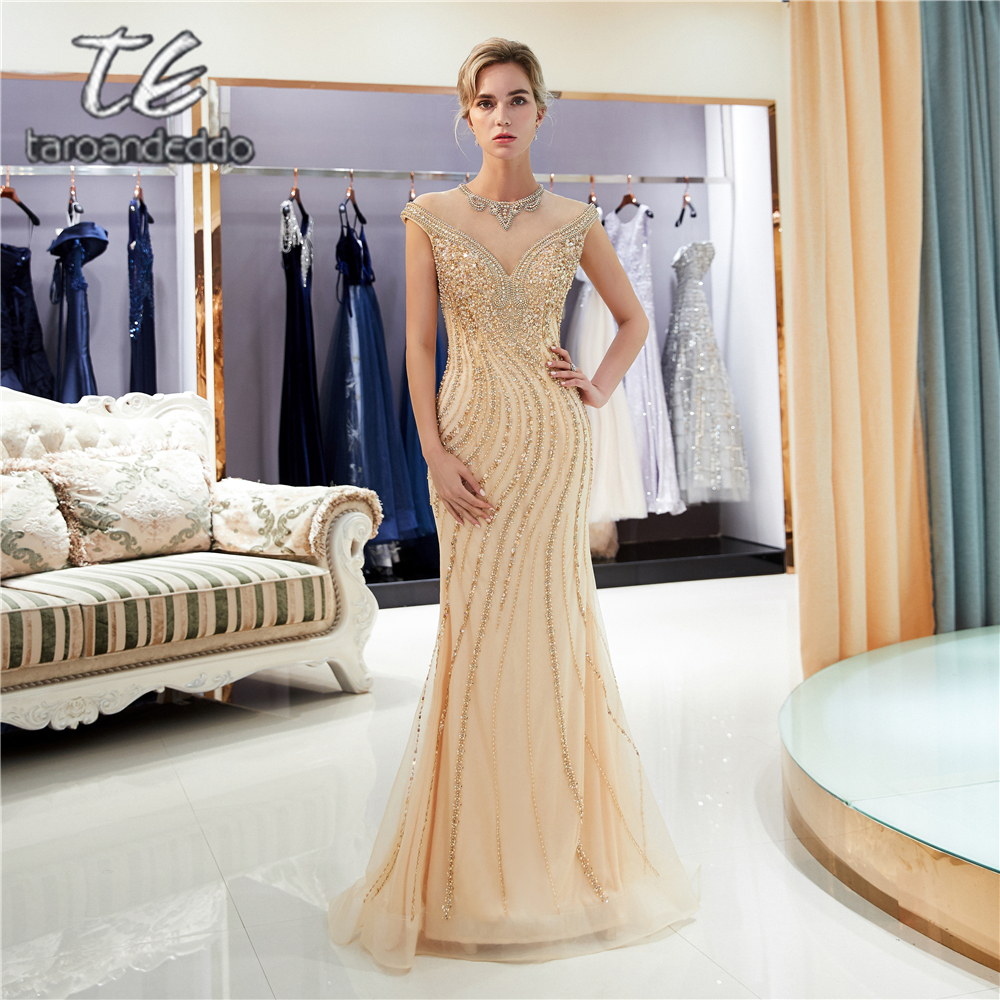 O Neck Jewel Mermaid Gold Tulle   Prom     Dresses   Illusion Zipper Back Beading Crystals Evening Formal Party   Dress
