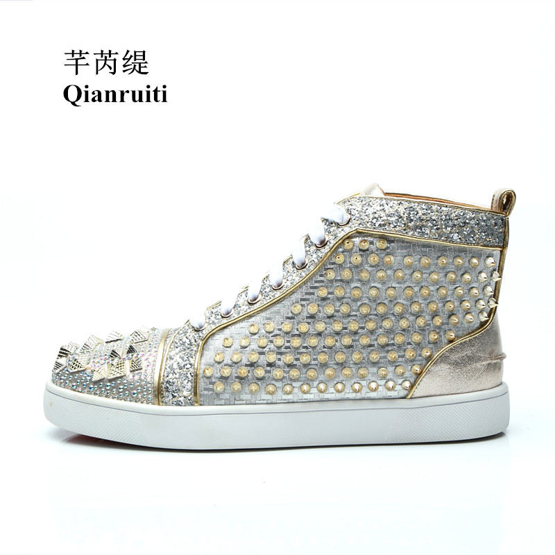 Qianruiti 2019 Men Bling Sequins Sneaker Lace-up Spike Flat High Top Shiny  Crystal Shoes bbb3bf00a9c2