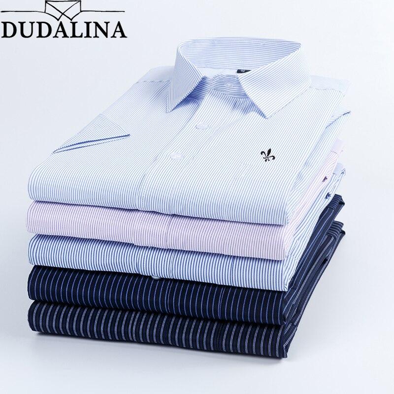 e757467c016d7f9 Dudalina 2019 Летняя мужская рубашка с короткими рукавами в клетку и полоску  модная Рабочая Повседневная рубашка мужская формальная рубашка Camisa .